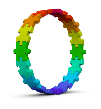 colour wheel: circle of colorful jigsaw puzzles on white background