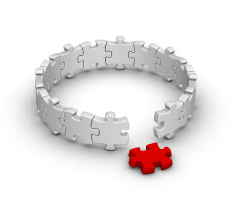 solve problems: gray jigsaw puzzles with one red piece