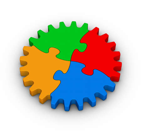 gear of colorful jigsaw puzzles on white background photo