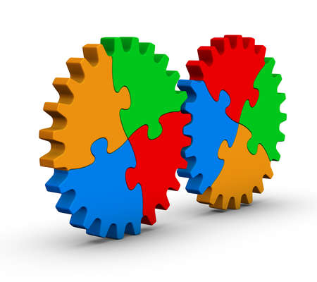 two wheel: two gears of colorful jigsaw puzzles on white background