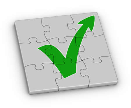 verified: Green check mark with arrow on jigsaw puzzle