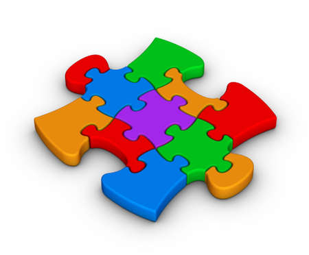 colorful jigsaw piece on white background Stock Photo - 11483770