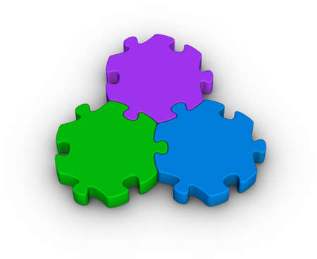merge together: three jigsaw pieces (unity symbol) Stock Photo