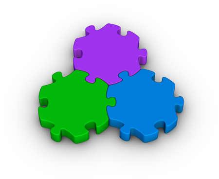 three colors: three jigsaw pieces (unity symbol) Stock Photo