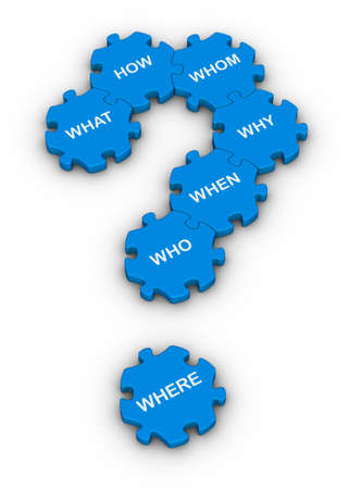 blue jigsaw puzzles question mark with question words Stock Photo - 11483850