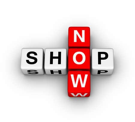 shop now label for online store Stock Photo - 11483768