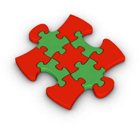 colorful jigsaw piece on white background photo