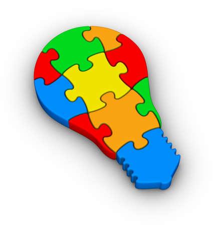 new thinking: puzzle luce icona della lampadina Archivio Fotografico