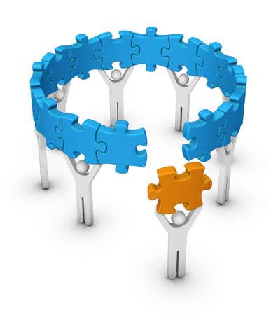 Mann mit letzten Puzzlestück für Puzzle-Rad