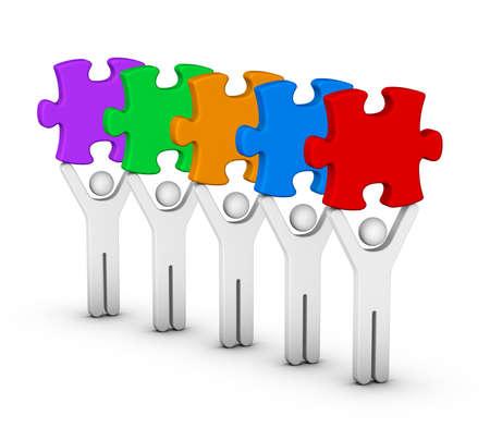 five element: five men with multicolor jigsaw puzzles