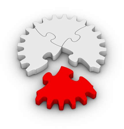 gear of jigsaw puzzles with one red piece photo