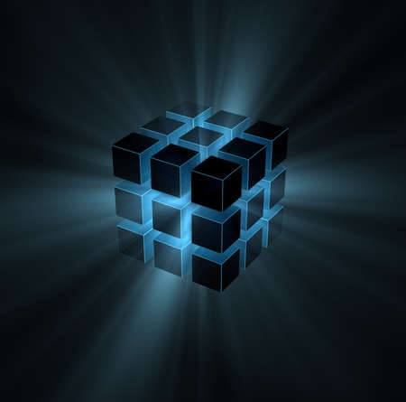 blue light beams from puzzle cube on black background photo