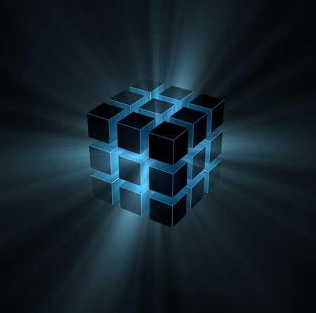 black block: rayos de luz azul de cubo rompecabezas sobre fondo negro Foto de archivo