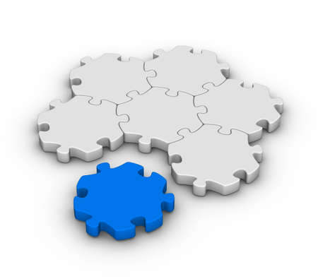 gray jigsaw puzzles with one red piece photo