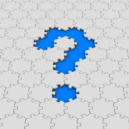 white jigsaw puzzles with red question mark photo
