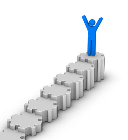 leader on top of staircase diagram Stock Photo - 11483808