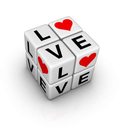 heart puzzle: love crossword (design element for valentines day ) Stock Photo