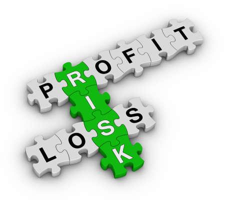 perdidas y ganancias: la gestión del riesgo de rompecabezas Foto de archivo