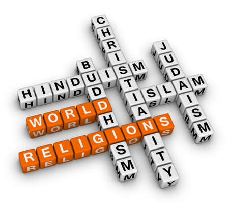 theology: major world religions - Christianity, Islam, Judaism, Buddhism and Hinduism