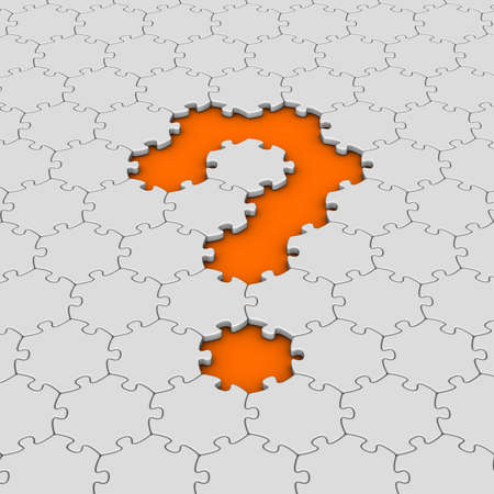 white jigsaw puzzles with orange question mark photo