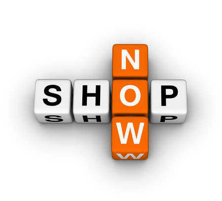 shop now label for online store Stock Photo - 12374301