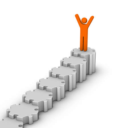 leader on top of staircase diagram Stock Photo - 12374306