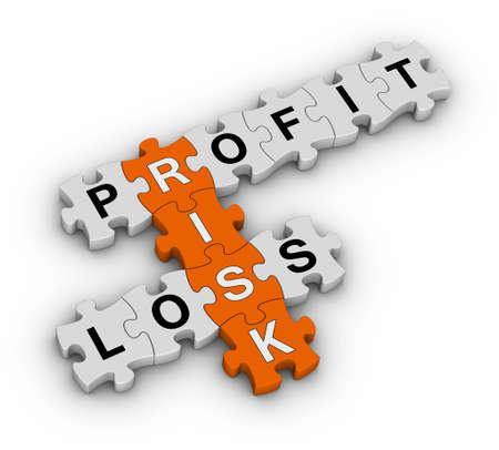 perdidas y ganancias: la gesti�n del riesgo de rompecabezas Foto de archivo