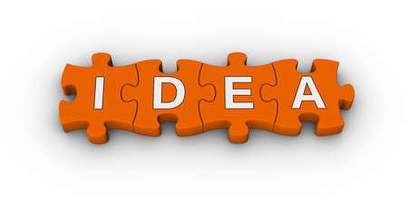idea icon: idea word on jigsaw puzzle Stock Photo