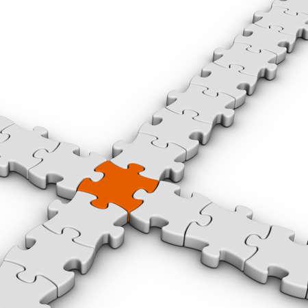 one piece: gray jigsaw puzzles with one orange piece Stock Photo