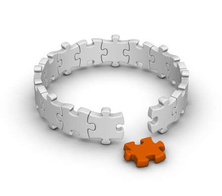 gray jigsaw puzzles with one orange piece photo