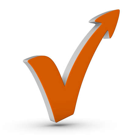 yes check mark: orange check mark with arrow on white background Stock Photo