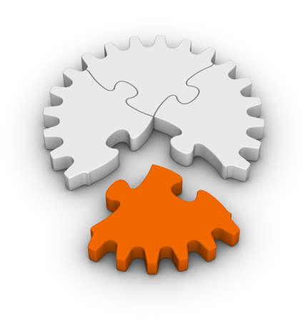 オレンジ色のワンピースでジグソー パズルの歯車 写真素材