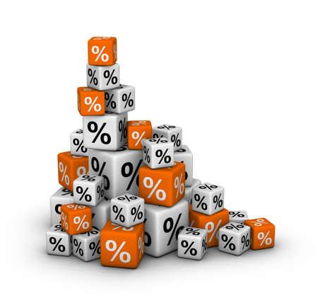 Pila de cajas con signo de porcentaje (de ventas o el concepto de finanzas)