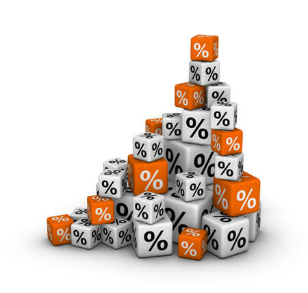 white interest rate: Stack of boxes with percent sign (sales or finance concept)
