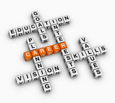 경력 크로스 워드 퍼즐 (직업 검색 개념)