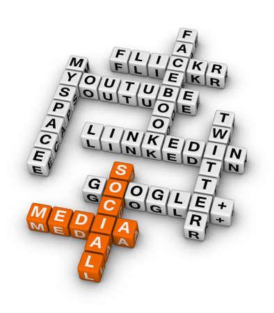 가장 인기있는 소셜 네트워킹 사이트 크로스 워드 퍼즐