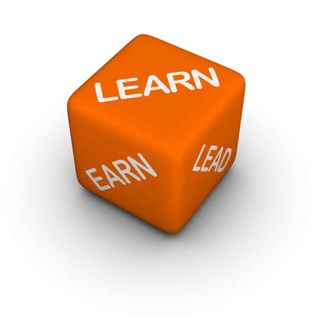 learn, earn, lead - 3d dice photo