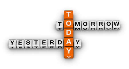yesterday: yesterday, today, tomorrow 3d crossword puzzle (time concept) Stock Photo