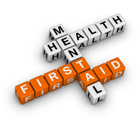 mental health problems: mental health first aid 3d crossword Stock Photo