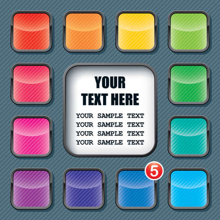 apps icons set and text frame template Stock Vector - 15468945