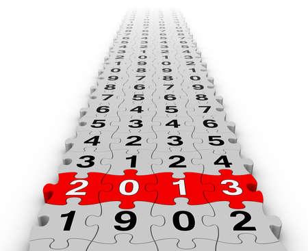 twenty thirteen: Happy New Year 2013 puzzles Stock Photo