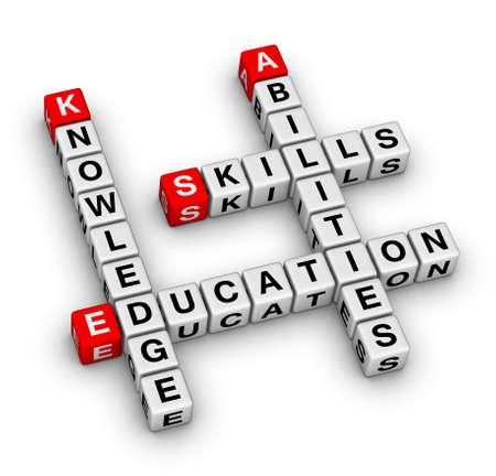 Skills, Knowledge, Abilities, Education crossword puzzle Standard-Bild