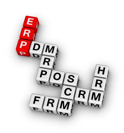 ERP (Enterprise Resource Planning)-systeem kruiswoordpuzzel Stockfoto
