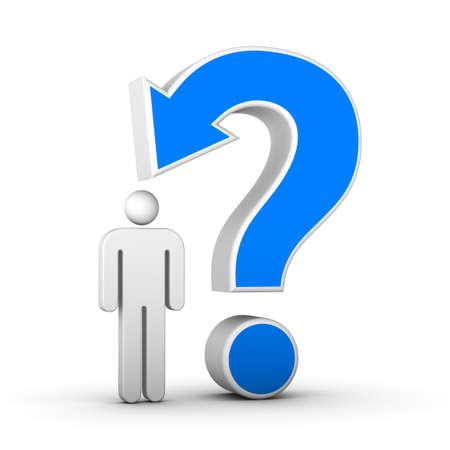 vraagteken met pijl en man