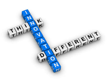 think different: Innovation - Think Different crossword puzzle Stock Photo