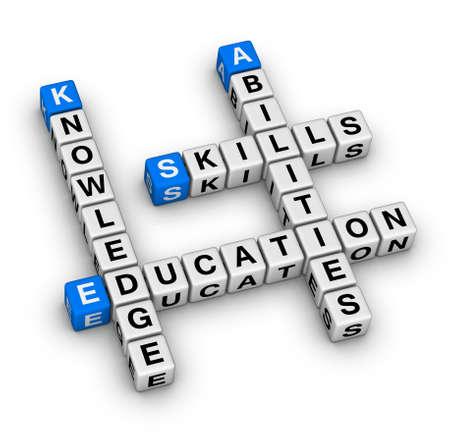 Skills, Knowledge, Abilities, Education crossword puzzle Stock Photo