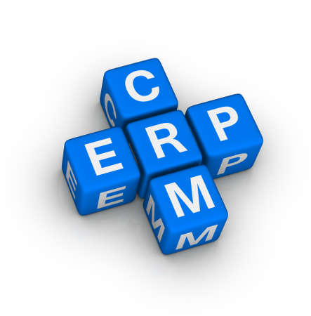 Enterprise Resource Planning (ERP) and Customer Relationship Management (CRM) crossword puzzle Stock Photo - 22345339
