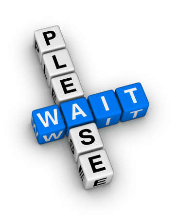Please Wait crossword puzzle Stock Photo