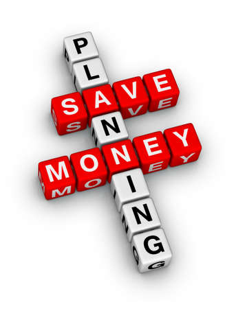 family budget: save money planning crossword puzzle Stock Photo