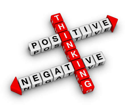 negative thinking: positif et n�gatif de puzzle r�flexion de mots crois�s Banque d'images